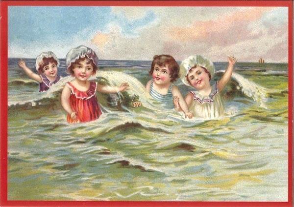 Grote foto ansichtkaart kinderen aan zee verzamelen overige verzamelingen
