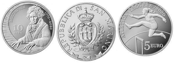 Grote foto san marino 5 euro 2020 atletiek 10 euro 2020 beethoven verzamelen munten overige