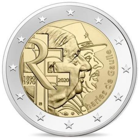 Grote foto frankrijk 2 euro 2020 charles de gaulle verzamelen munten overige
