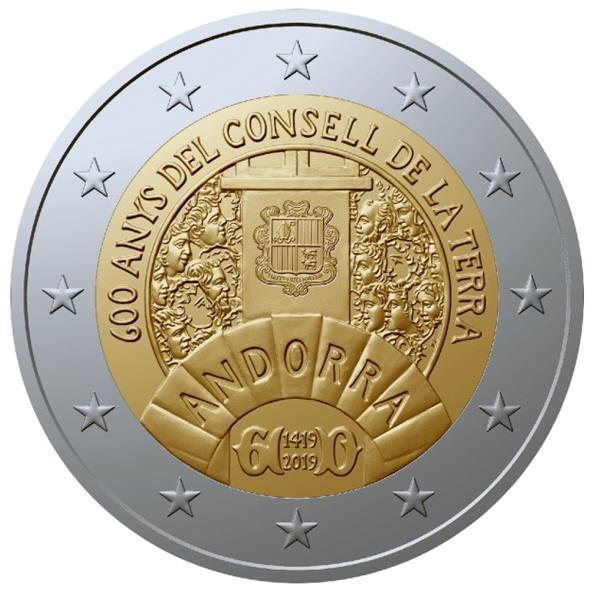 Grote foto andorra 2 euro 2019 600 jaar parlement van andorra unc verzamelen munten overige