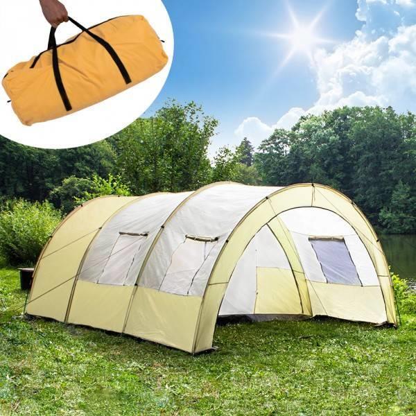 Grote foto xxl camping tent waterdicht 4 6 personen tunneltent beige caravans en kamperen tenten