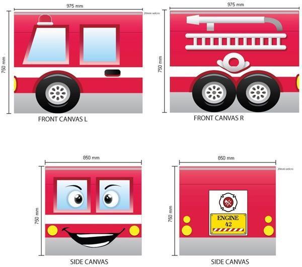 Grote foto speelgordijnen brandweer kinderen en baby complete kinderkamers