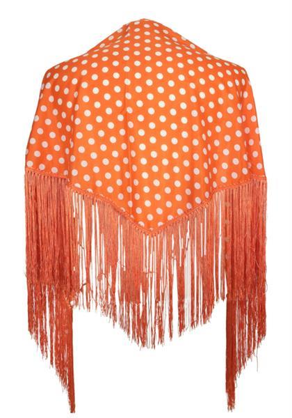 Grote foto spaanse manton omslagdoek oranje witte stippen small kleding dames carnavalskleding en feestkleding
