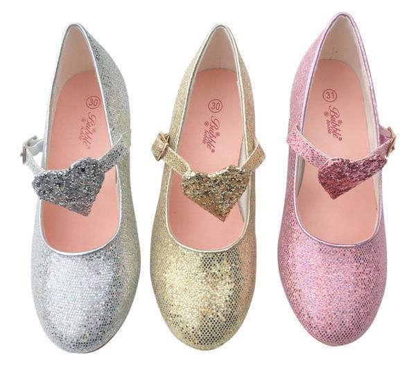 Grote foto spaanse schoenen roze glitter hart deluxe maat 31 binnenma kinderen en baby schoenen voor meisjes