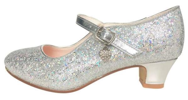 Grote foto spaanse schoenen zilver glamour glitterhartje maat 25 binn kinderen en baby schoenen voor meisjes