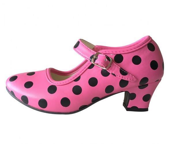 Grote foto spaanse schoenen roze zwart maat 22 binnenmaat 15 cm kinderen en baby schoenen voor meisjes