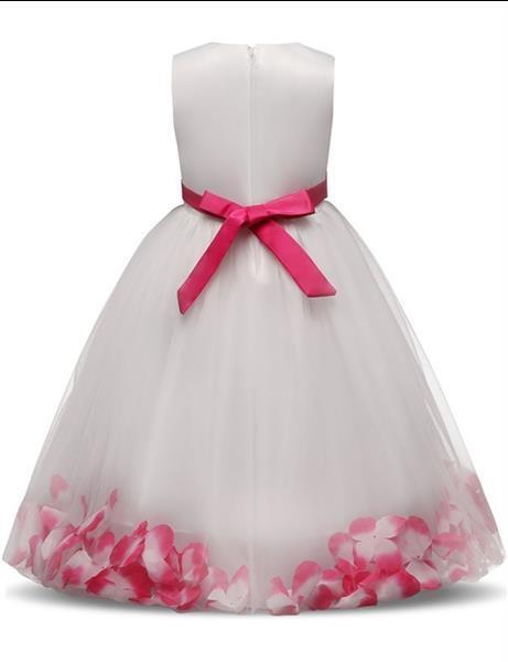Grote foto communie bruidsmeisjes jurk wit roze met bloemen krans 3 4 kinderen en baby overige