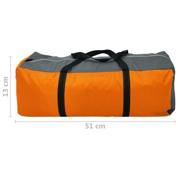 Grote foto vidaxl tent 4 persoons grijs en oranje caravans en kamperen kampeertoebehoren