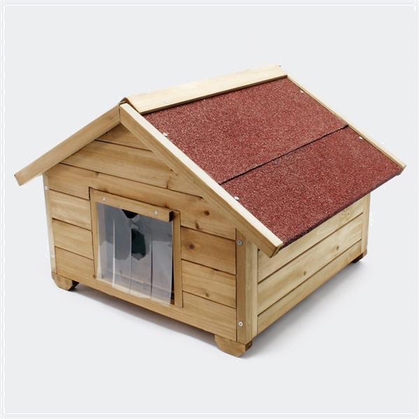 Grote foto kattenhuisje small met isolatie en klein kattenluik dieren en toebehoren katten accessoires