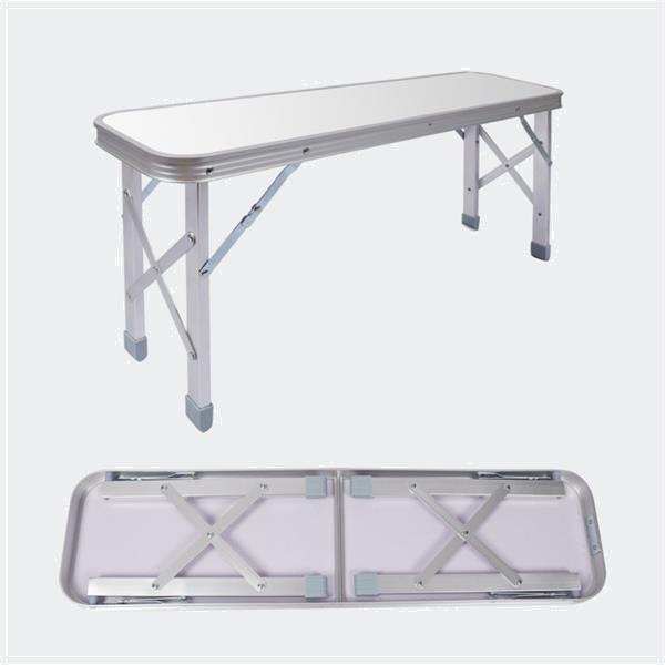 Grote foto opvouwbare campingtafel alu met 2 banken in zilver 90x66x70c caravans en kamperen kampeertoebehoren