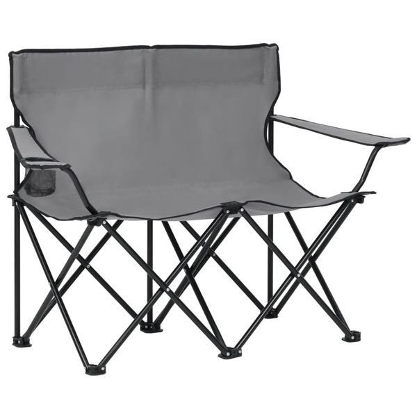 Grote foto vidaxl campingstoel 2 zits inklapbaar staal en stof grijs caravans en kamperen kampeertoebehoren