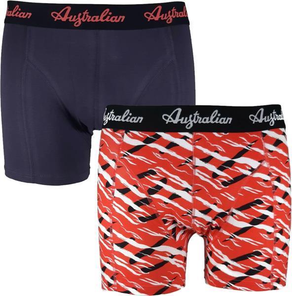 Grote foto australian heren boxers red scratch 2 pack m maat 50 kleding heren ondergoed