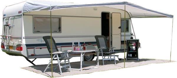 Grote foto universele caravanluifel 460 x 240 cm polyester grijs caravans en kamperen overige caravans en kamperen