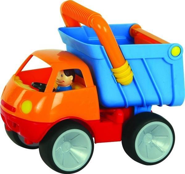Grote foto kiep truck met doos kinderen en baby babyspeelgoed