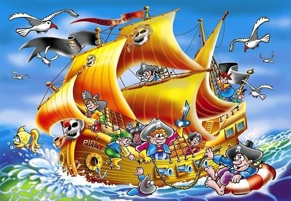 Grote foto piratenschip 260 stukjes kinderen en baby puzzels