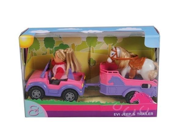 Grote foto evi jeep met paardentrailer kinderen en baby poppen