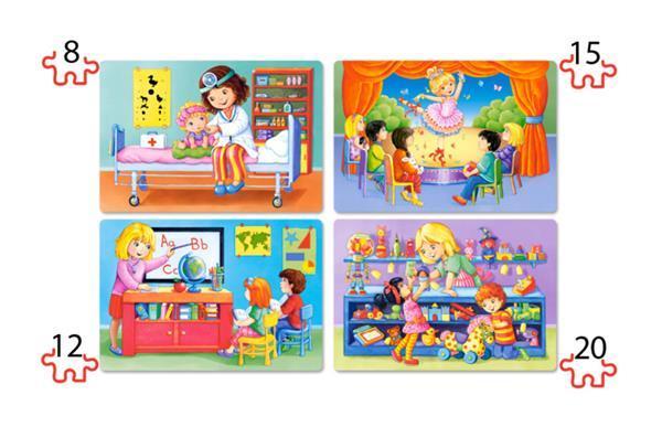 Grote foto 4 delige puzzel set ik hou van mijn baan castorland b 041022 kinderen en baby puzzels