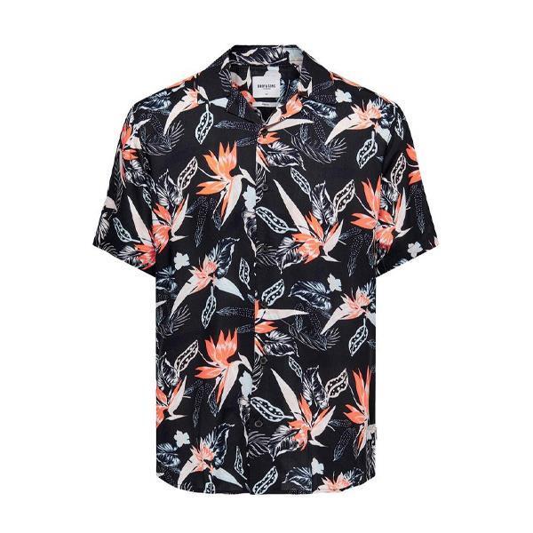 Grote foto only sons viscose flower blouse kledingmaat s kleding heren overhemden