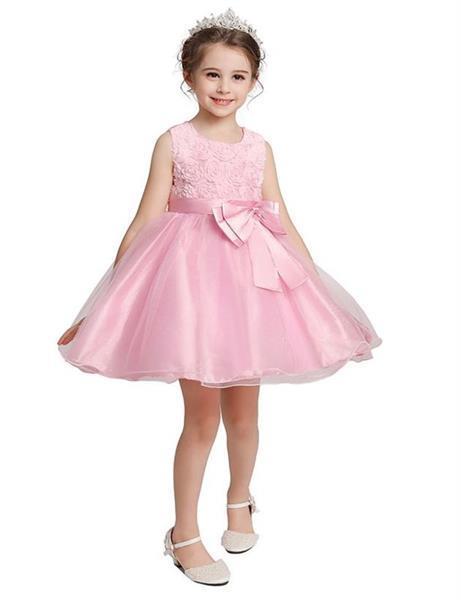 Grote foto communie jurk roze bruidsmeisje roosjes gratis bloemenkrans kinderen en baby overige