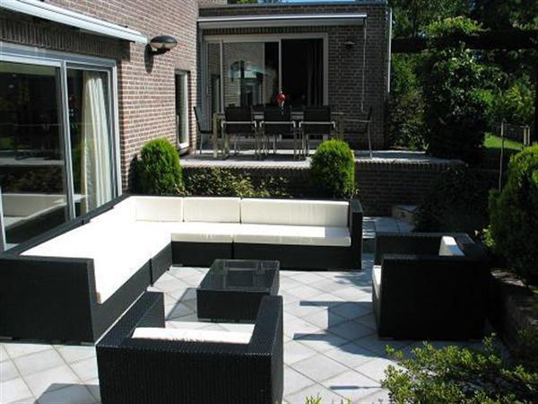 Grote foto arbrini loungeset zwart allweather kussens nu1195 tuin en terras tuinmeubelen