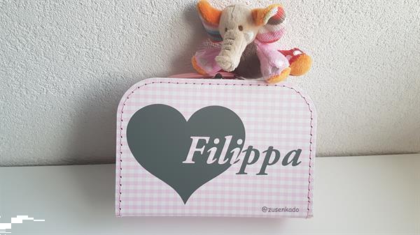 Grote foto koffertje met naam kinderen en baby kraamcadeaus en geboorteborden