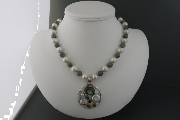 Grote foto labradoriet zoetwaterparel ketting oorhanger set sieraden tassen en uiterlijk kettingen
