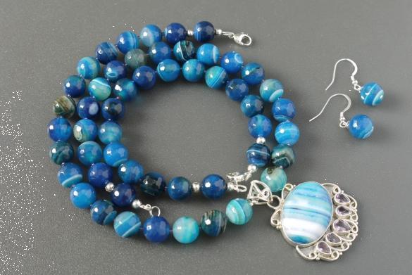 Grote foto blauwe agaat ketting oorhanger armband set sieraden tassen en uiterlijk kettingen