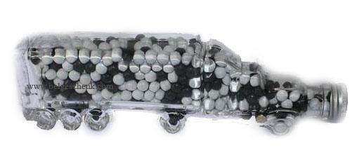 Grote foto vrachtwagen van glas gevuld met mintsnoepjes auto diversen overige auto diversen
